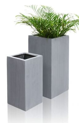 Grey Polystone Tall Cube Planter - Set of 2 - H79cm x L40cm