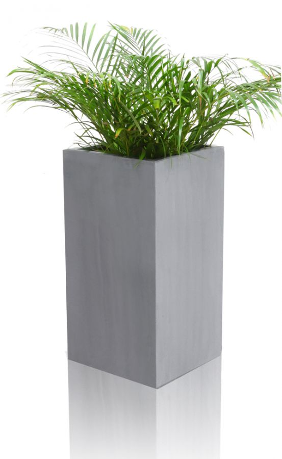 Grey Polystone Tall Cube Planter - Small H60cm x 30cm - 48 Litre
