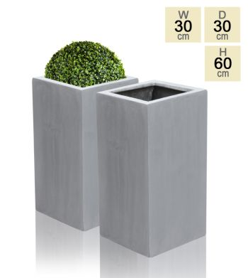 60cm Polystone Grey Tall Cube Planter - Set of 2