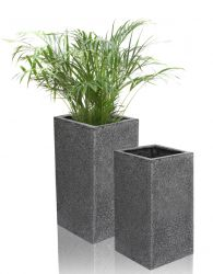 Black Poly-Terrazzo Tall Cube Planter - Set of 2 - H60cm/H79cm