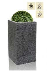 60cm Poly-Terrazzo Small Black Tall Cube Planter