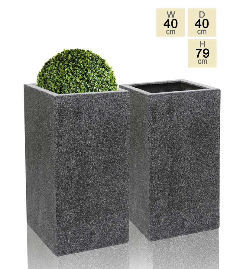 79cm Poly-Terrazzo Black Tall Cube Planter - Set of 2