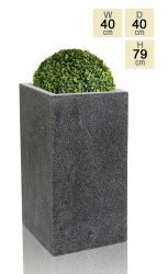 79cm Poly-Terrazzo Large Black Tall Cube Planter