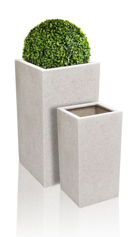 White Poly-Terrazzo Tall Cube Planter - Set of 2 - H60cm/H79cm