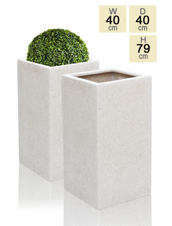 79cm Poly-Terrazzo White Tall Cube Planter - Set of 2