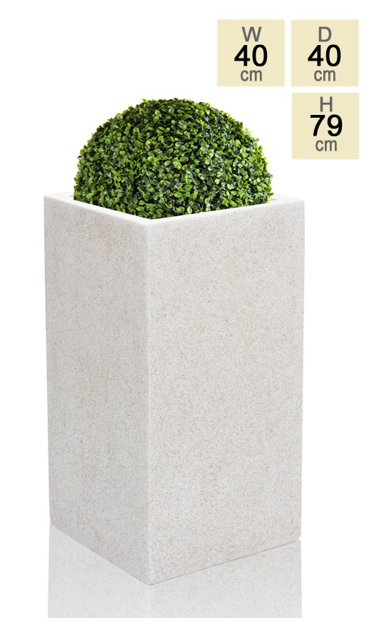 79cm Polyterrazzo Large White Tall Cube Planter