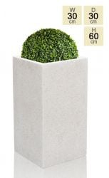 60cm Poly-Terrazzo Small White Tall Cube Planter