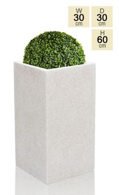 White Poly-Terrazzo Tall Cube Planter - Small H60cm x 30cm - 48 Litre