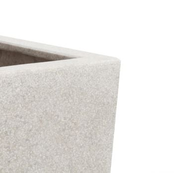 60cm Poly-Terrazzo White Tall Cube Planter - Set of 2