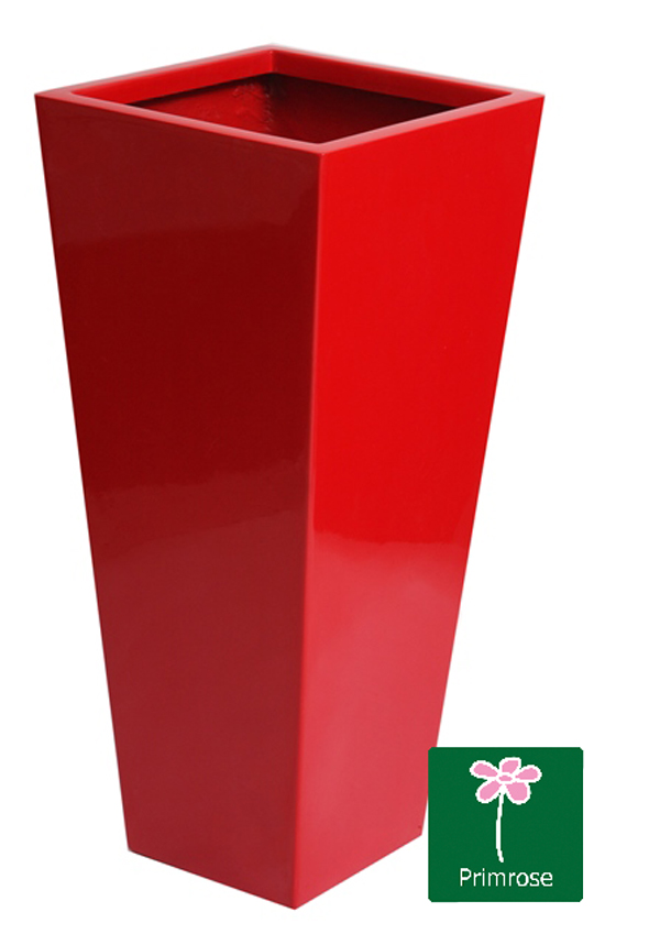 H1.20m Fibreglass Flared Square Gloss Planter in Red - By Primrose®