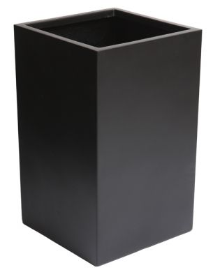 H75cm Tall Cube Fibreglass Planter in Matt Black - By Primrose®