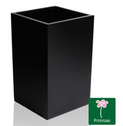 H68cm Tall Cube Fibreglass Matt Black Planter -  By Primrose®
