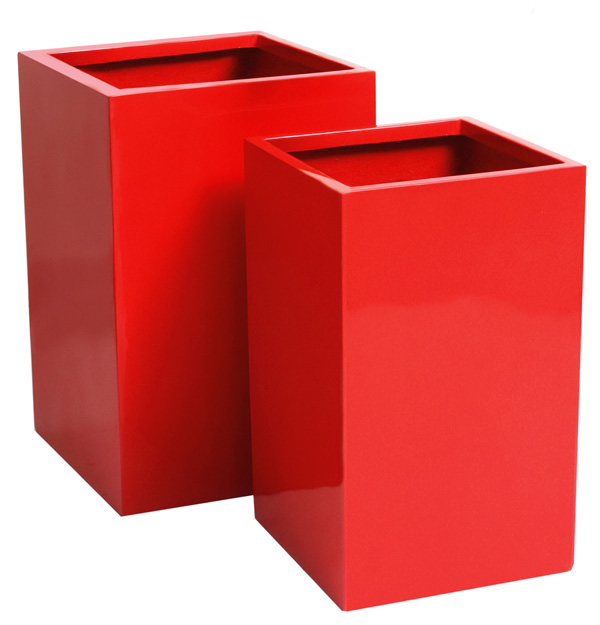 H68cm Fibreglass Tall Cube Gloss Planter in Red - By Primrose®
