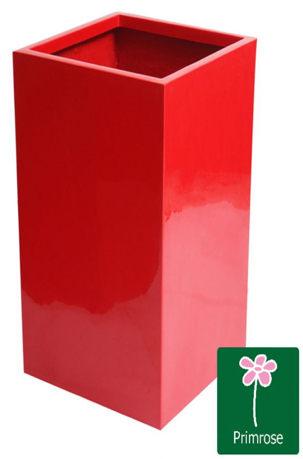 H75cm Fibreglass Tall Cube Gel Coat  Planter in Red - By Fibre-G�