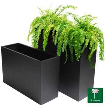 H60cm x L90cm Tall Trough Fibreglass Planter in Matt Black - By Primrose®