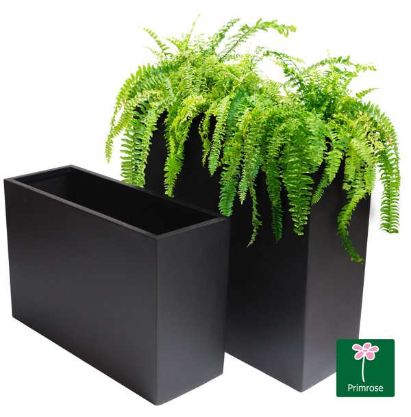 90cm Fibreglass Tall Trough Planter in Matt Black - By Primrose™