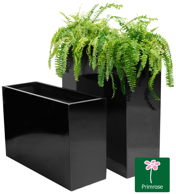 H60cm Tall Trough Fibreglass Gloss Planter in Black - By Primrose™