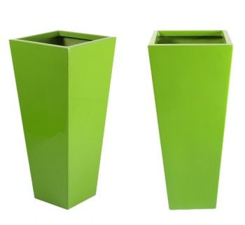 H90cm Fibreglass Flared Square Gloss Planter in Lime Green - By Primrose®
