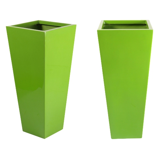 H90cm Fibreglass Flared Square Gel Coat Planter in Lime Green - By Primrose®