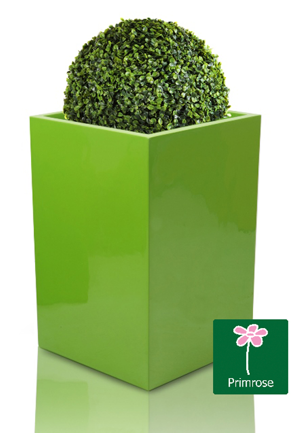H75cm Fibreglass Tall Cube Gloss Planter in Lime Green - By Primrose®