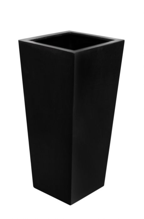 91cm Polystone Black Tall Flared Square Planter - Set of 2