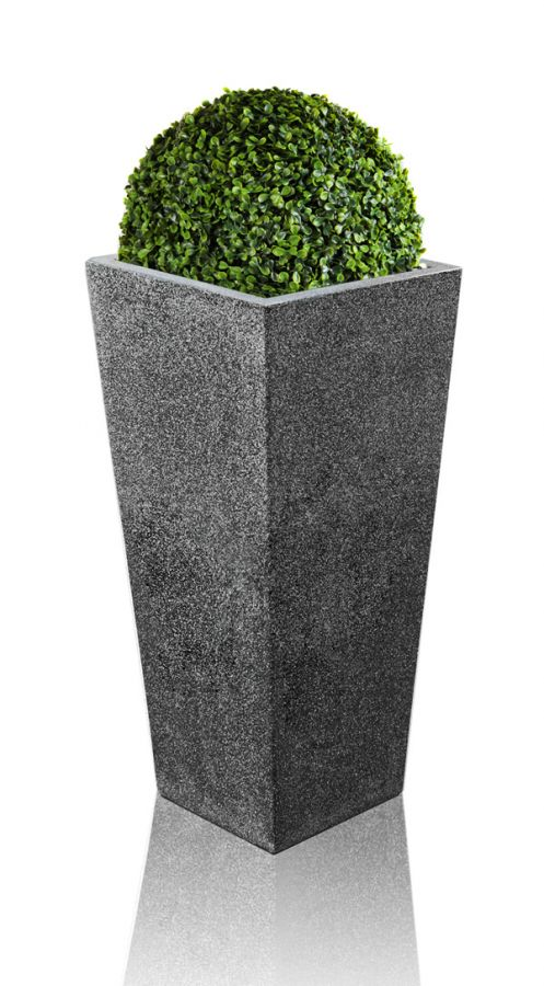 91cm Poly-Terrazzo Black Tall Flared Square Planter - Set of 2