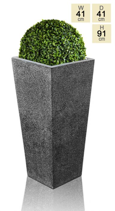91cm Polyterrazzo Black Tall Flared Square Planter