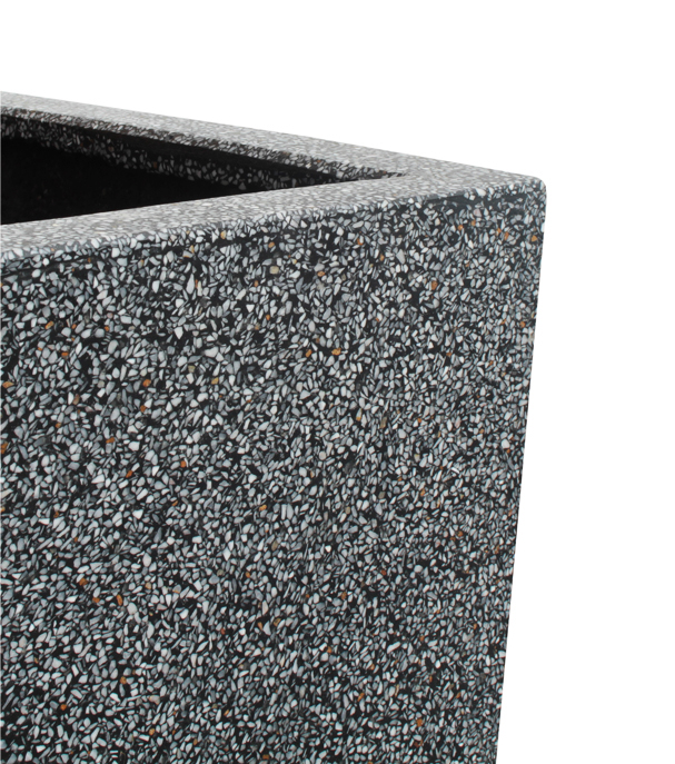 Black Poly-Terrazo Tall Flared Square Planter - Set of 2 - H91cm x L41cm