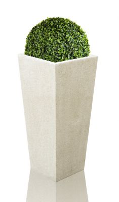 White Poly-Terrazo Tall Flared Square Planter - Set of 2 - H91cm x L41cm