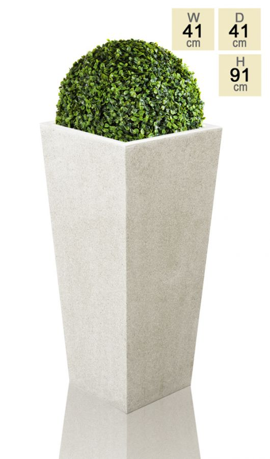 91cm Polyterrazzo White Tall Flared Square Planter
