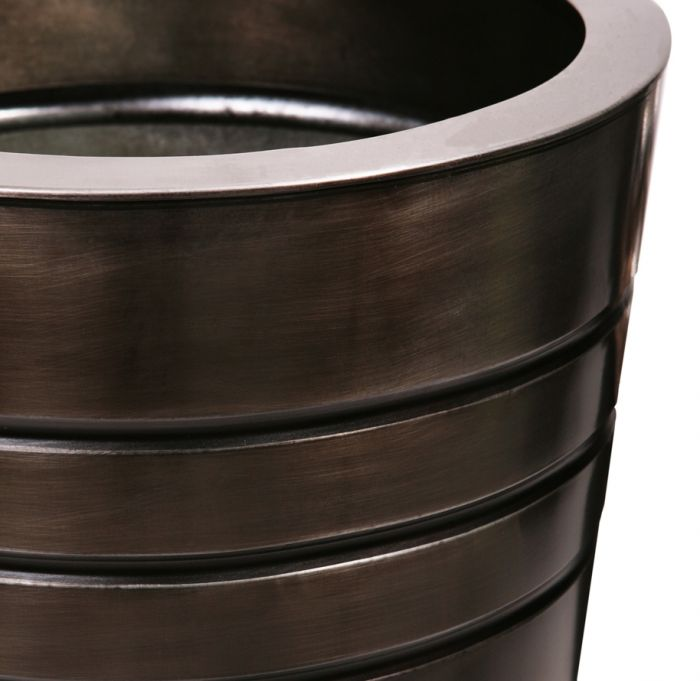 H90cm Tall Round Zinc Planter - Pewter - By Primrose®