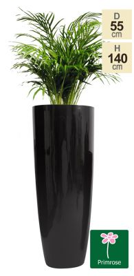 H1m Tall Round Fibreglass Gloss Planter in Black - by Primrose®