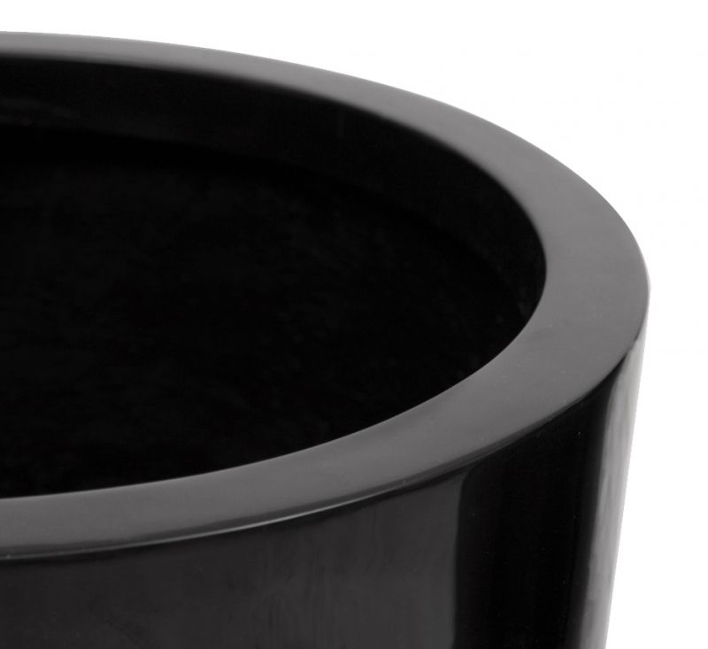 H88cm Tall Round Fibreglass Gloss Planter in Black - By Primrose®