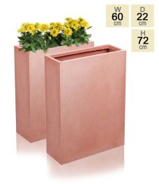 72cm Terracotta Fibrecotta Classic Tall Trough Planters - Set of 2