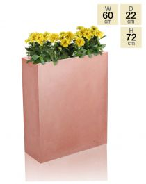 72cm Terracotta Fibrecotta Tall Trough Planter