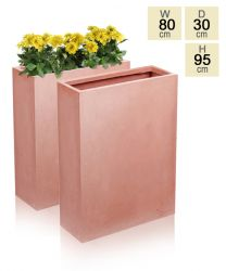 Classic Tall Terracotta Fibrecotta Trough Planters - Set of 2 - H95cm x W80cm