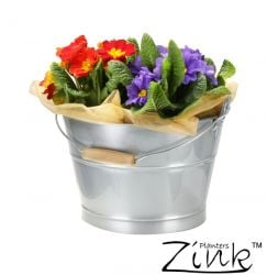 Silver Zinc Bucket Planter with Wooden Handle - Dia23cm
