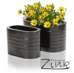 L35cm Black Ridged Oval Steel Planter - By Primrose®