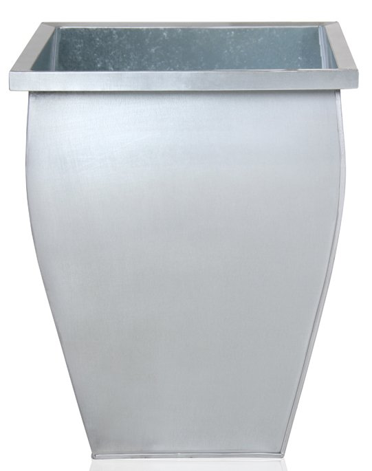 H40cm Silver Flared Square Zinc Galvanised Planter - By Primrose®