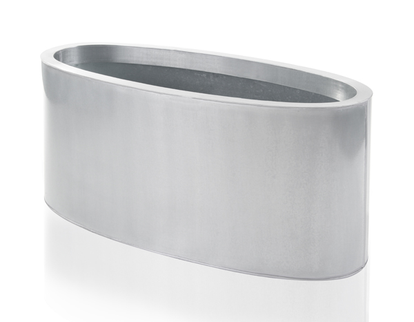 W60cm Silver Low Oval Zinc Galvanised Planter - By Primrose™