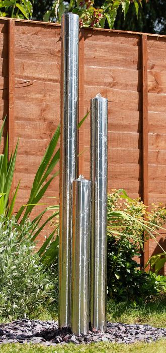 100cm 3-Tier Tube Stainless Steel Water Feature with Lights | Indoor/Outdoor Use by Ambienté