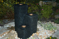 Roma Triple Pillar Self-Contained Water Feature with light