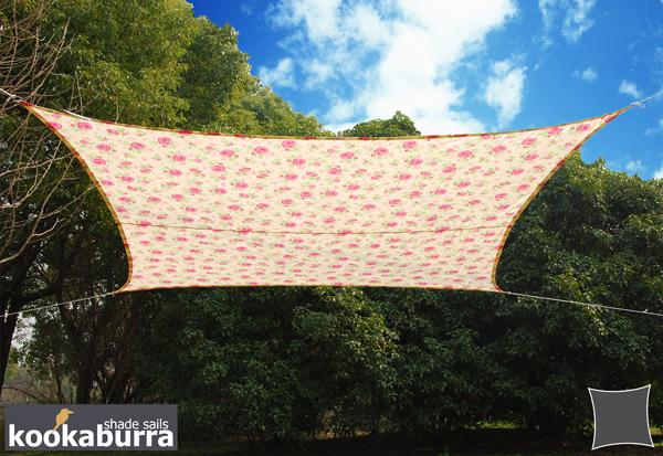 Kookaburra® 5.4m Square Rose Pattern Waterproof Woven Shade Sail
