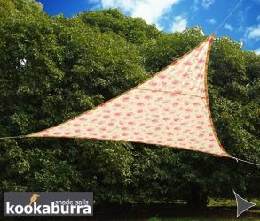Kookaburra® 5m Triangle Rose Pattern Waterproof Woven Shade Sail