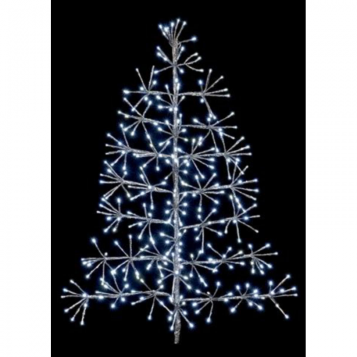 60cm Silver Tree Christmas Starburst Wall Decoration with White LED's