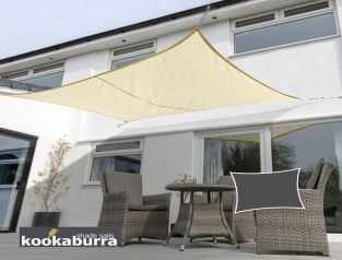 Kookaburra® 6mx5m Rectangle Sand Breathable Party Shade Sail (Knitted 185gsm)