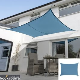Kookaburra® 3mx2m Rectangle Azure Waterproof Woven Shade Sail