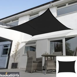 Kookaburra® 3mx2m Rectangle Black Waterproof Woven Shade Sail