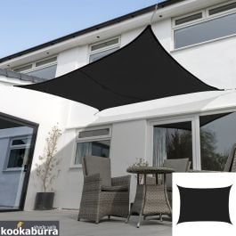 Kookaburra® 4mx3m Rectangle Black Waterproof Woven Shade Sail