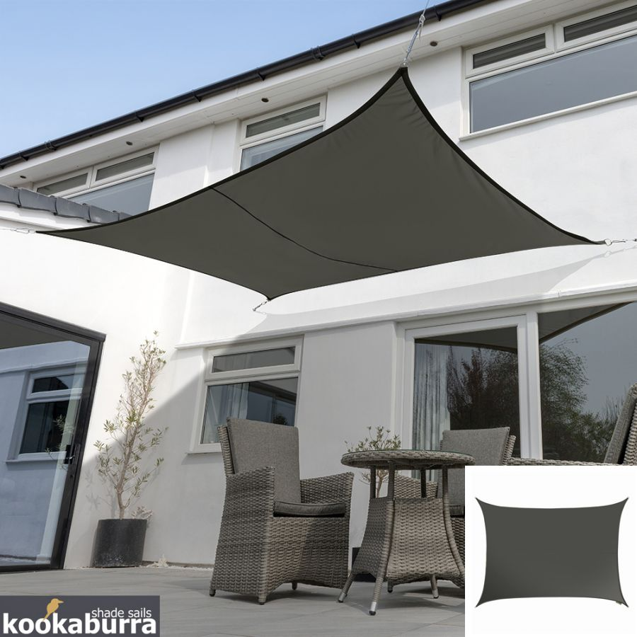 Kookaburra® 3mx2m Rectangle Charcoal Party Sail Shade (Woven - Water Resistant)